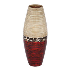 "HomeRoots Decor, 24"" Spun Bamboo Vase, Metallic and Natural"