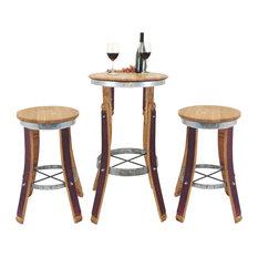 Wine Barrel High Pub Set, Stools Without Backrest