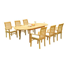 """7-Piece Outdoor Teak Dining Set: 94"""" Masc Oval Table, 6 Mas Stacking Arm Chairs"""
