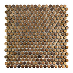 "11.75""x11.75"" Asteroid Penny Round Porcelain Mosaic Floor/Wall Tile, Gold"