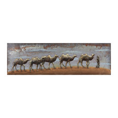 """Caravan"" Camel Mixed Media Iron Hand Painted Dimensional Wall Art"