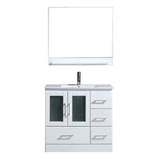 "Zola 36"" Vanity, Gray, Polished Chrome, With Mirror"