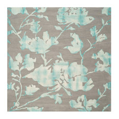 Safavieh Floyd Dip Dye Rug, Gray and Turquoise, 7'x7' Square