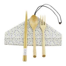 Japanese Wooden Chopsticks, Spoon, Forks Cutlery Set Carry 4-Piece, Tableware