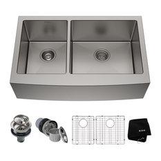 """Kraus 33"""" Farmhouse 60/40 Kitchen Sink, Stainless Steel, Accessories"""