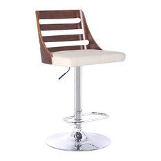 Armen Living - Storm Modern Adjustable Swivel Bar Stool, Cream - Bar Stools and Counter Stools