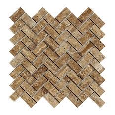 Noce Exotic, Vein-Cut Herringbone Mosaic, 1x2, Unfilled, Polished, 10 Sqft
