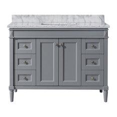 "Tiffany 48"" Single Bathroom Vanity,Grey,Marble Top,Square Sink"