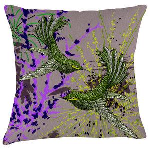 Paradise Velvet Cushion, Dancing Birds