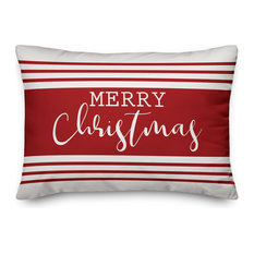 "Merry Christmas Farmhouse Stripe 14""x20"" Throw Pillow"