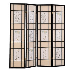 Coaster Four Panel Folding Floor Screen With Floral Motif