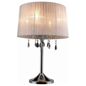 Crystal Table Lamp, White and Black Chrome