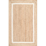 nuLOOM - Jute Braided Saturn Border Jute Area Rug, Off White, 6'x9' - Made from the finest materials in the world and with the uttermost care, our rugs are a great addition to your home. Features Style: Natural Fibers, Solid & Striped, Jute & Sisal Material: 100% Jute Machine Made Origin: India Note: All rug sizes are approximate. Due to the difference of monitor colors, some rug colors may vary slightly. We try to represent all rug colors accurately.