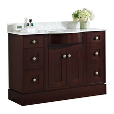 "48"" Birch Wood-Veneer Single Sink Vanity Set, Coffee, White, Faucet AI-1792"