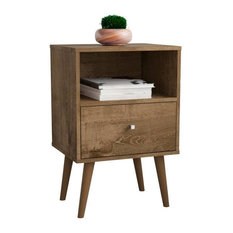 Mid Century Modern 1-Drawer Nightstand, Rustic Brown