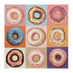 "Pop Art Donut Hand Painted Canvas, 36""x36"""