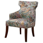 Madison Park - Madison Park Kujawa Notch Back Accent Chair, Multi - The sophisticated curves with its tight back and tight seat flow one into another with an almost sculptural grace. Leg assembly required.