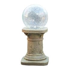 Smart Solar USA - Crackled Glass Solar Chameleon Gazing Ball with Pedestal - Garden Statues and Yard Art