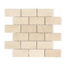 "12""x12"" Crema Marfil Polished Marble Brick Mosaic"