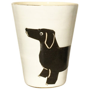 Black and White Animal Cups, Dachshund, Set of 2