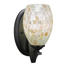"""Zilo Wall Sconce In Matte Black, 5"""" Ivory Glaze Seashell Glass"""