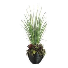 Echeveria, Succulent, and Yucca Arrangement in Bamboo Bowl