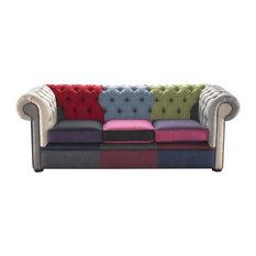 Patchwork Linen Chesterfield Sofa