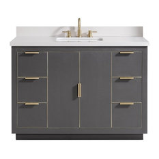 "Avanity Austen 49"" Vanity, Twilight Gray/Gold With White Quartz Top"