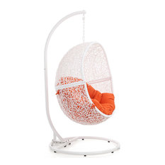 Modern Outdoor Patio Shore Swing Chair with Stand - White Basket Orange Cushion