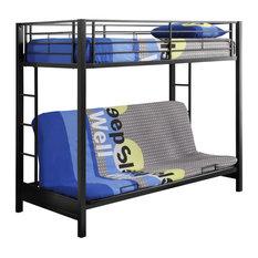 walker edison   premium metal twin over futon bunk bed black   bunk beds metal futon bunk bed   houzz  rh   houzz