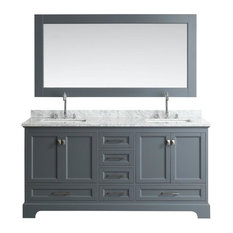 "Design Element Omega 72"" Double Sink Vanity, Gray"