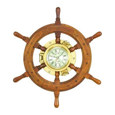 benzara wood ships wheel wall clock unique country home decor wall clocks