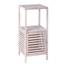 Norway Natural White Bathroom Shelving Unit With Cupboard