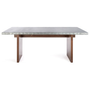 The Sonoma Zinc Top Solid Walnut Base Dining Table 60x37x30