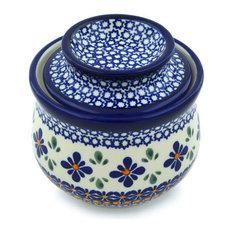 "Polmedia Polish Pottery 4"" Stoneware Butter Dish"
