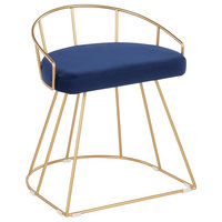 Canary Glam/Contemporary Vanity Stool, Gold Metal and Blue Velvet