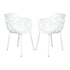 Leisuremod Modern Devon Aluminum Chair With Arm, Set of 2, White