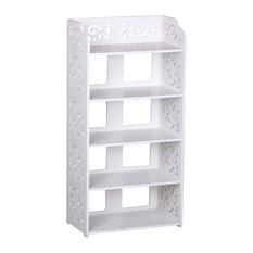 Contemporary Organizer Rack, Carved White Finished MDF With 5 Open Shelves