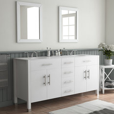 "72"" Double Basin Sink White Vanity Set - Isabella"