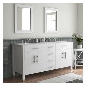 """72"""" Double Basin Sink White Vanity Set - Isabella"""