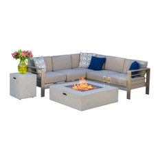 Crested Bay Outdoor Aluminum Framed Sofa Set With Fire Table, Light Gray