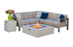 GDF Studio Crested Bay Outdoor Aluminum Sofa Set With Fire Table, Light Gray