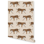 """Adornshoppe - Tiger Natural Wallpaper, Double Roll - Our giraffe wallpaper transports you to the African savanna. Each double roll measures 24"""" wide x 30' long. Digitally printed on top quality, durable, pre-pasted paper for easy installation and removal. Samples are available. Please allow 2-3 weeks for delivery, as wallpaper is custom printed upon order. Made in the USA."""