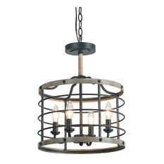 LNC 4-Light Farmhouse Pendants Cage Drum Chandeliers Lighting