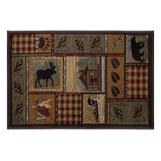 Homespun Cabin Novelty Lodge Pattern Multi-Color Scatter Mat Rug, 2' x 3'