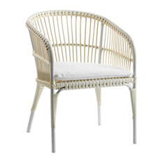 Curved Rattan Armchair With Cushion, White
