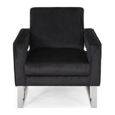 Kerman Modern Glam Velvet Club Chair, Black + Silver