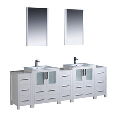 """Torino 84"""" White Modern Double Sink Bathroom Vanity, Faucet FFT1030CH"""