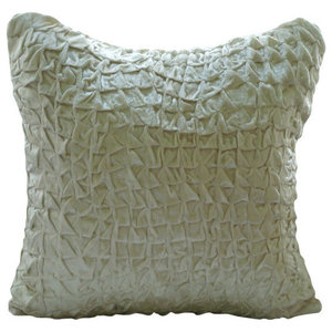 Ivory Textured Knotted 50x50 Velvet Cushions Cover, Snow Soft