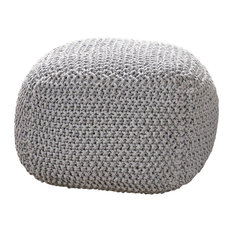 GDF Studio Teresa Knitted Cotton Square Pouf, Light Gray